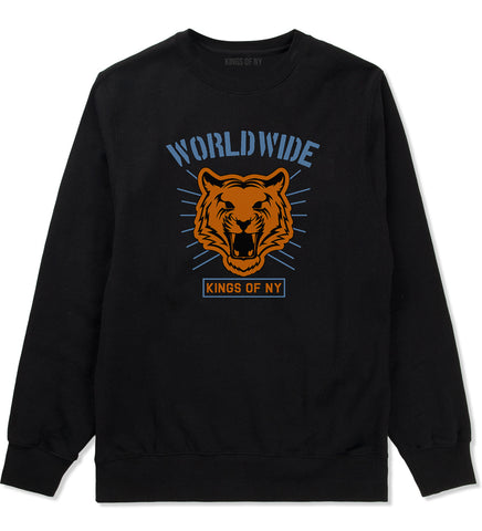 Worldwide Tiger Face Mens Crewneck Sweatshirt Black