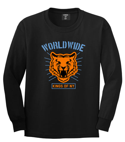 Worldwide Tiger Face Mens Long Sleeve T-Shirt Black