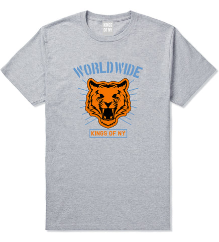 Worldwide Tiger Face Mens T Shirt Grey