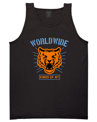 Worldwide Tiger Face Mens Tank Top Shirt Black