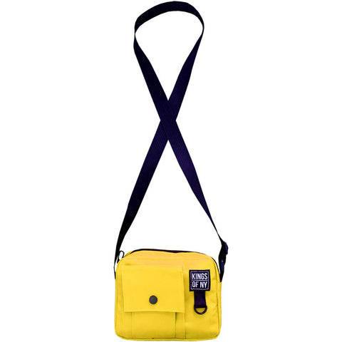 Yellow Front Pocket Mens Canvas Crossbody Sling Bag