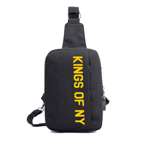 Yellow Logo USB Charging Cross Body Chest Bag Black