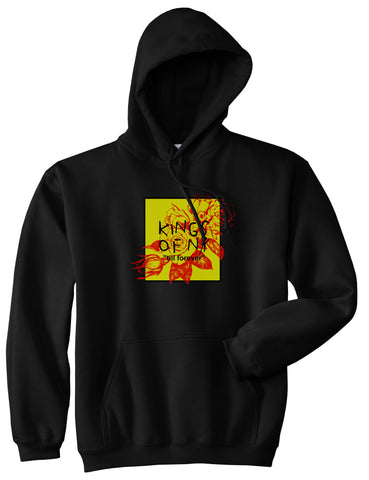 Yellow Rose Till Forever Box Logo Mens Pullover Hoodie Sweatshirt Black