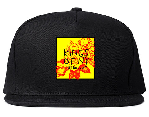 Yellow Rose Till Forever Box Logo Mens Snapback Hat Black