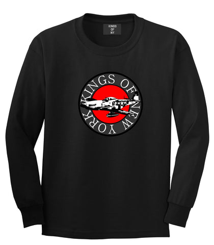 Kings Of NY Airplane World War Long Sleeve T-Shirt in Black
