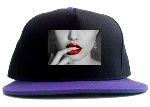 Angelina Red Lips Sexy 2 Tone Snapback Hat By Kings Of NY