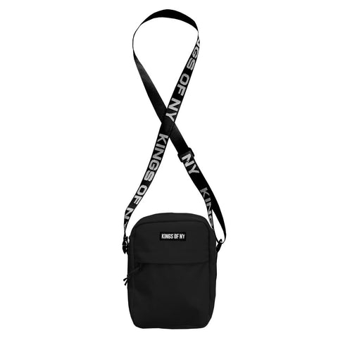 Black Logo Mens Small Crossbody Sling Bag by KINGS OF NY