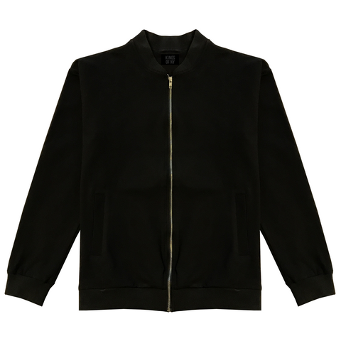 Blank Cotton Bomber Jacket Black