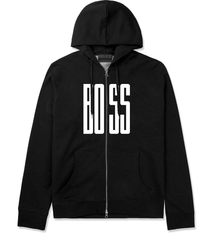 BOSS Long Printed Zip Up Hoodie Hoody in Black by Kings Of NY
