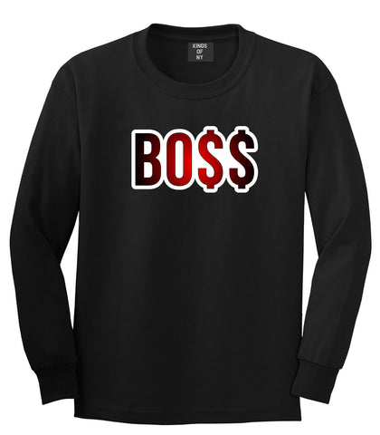 Boss Gradient Red Rick Style Top Head Long Sleeve T-Shirt in Black By Kings Of NY