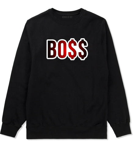 Boss Gradient Red Rick Style Top Head Crewneck Sweatshirt in Black By Kings Of NY