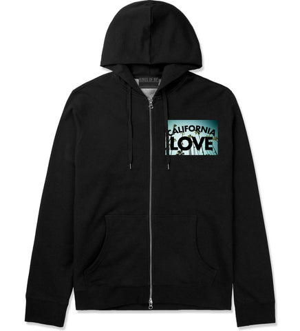 California Love Cali Palm Trees Zip Up Hoodie in Black By Kings Of NY