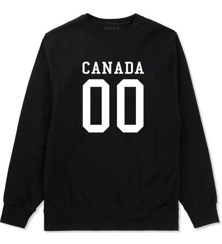 Canada Team 00 Jersey Crewneck Sweatshirt in Black By Kings Of NY