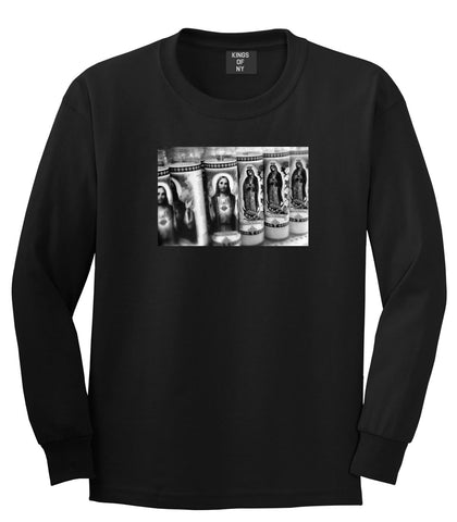 Candles Religious God Jesus Mary Fire NYC Long Sleeve T-Shirt In Black by Kings Of NY