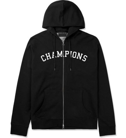 Champions Zip Up Hoodie Hoody in Black by Kings Of NY