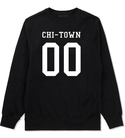 Chitown Team 00 Chicago Jersey Crewneck Sweatshirt in Black By Kings Of NY