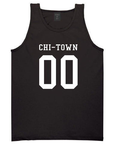 Chitown Team 00 Chicago Jersey Tank Top in Black By Kings Of NY