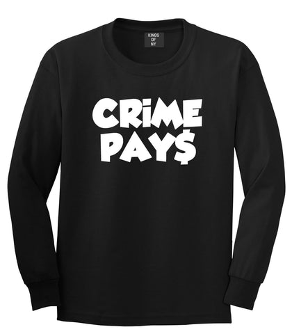Crime Pays Bubble Letters Money Signs NYC Long Sleeve Boys Kids T-Shirt In Black by Kings Of NY