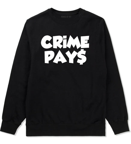 Crime Pays Bubble Letters Money Signs NYC Crewneck Sweatshirt In Black by Kings Of NY