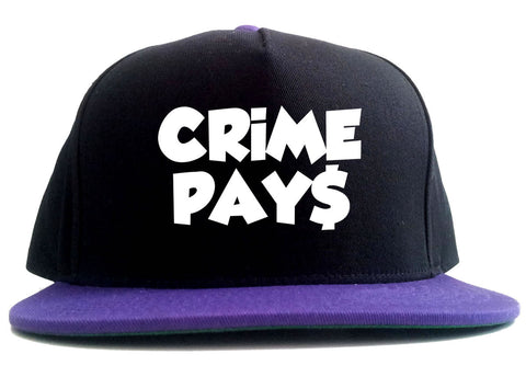 Crime Pays Bubble Letters Money Sign 2 Tone Snapback Hat By Kings Of NY
