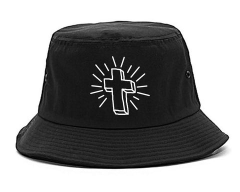 Cross of Praise Chest God Religious Bucket Hat in Black By Kings Of NY