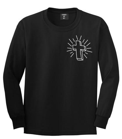 Cross of Praise Chest God Religious Long Sleeve T-Shirt in Black By Kings Of NY