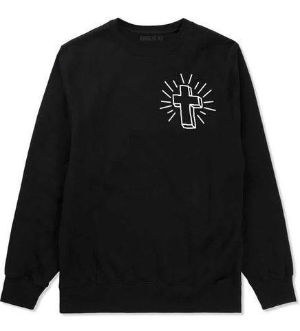 Cross of Praise Chest God Religious Crewneck Sweatshirt in Black By Kings Of NY