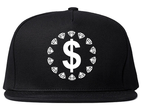 Diamonds Money Sign Logo Snapback Hat in Black by Kings Of NY