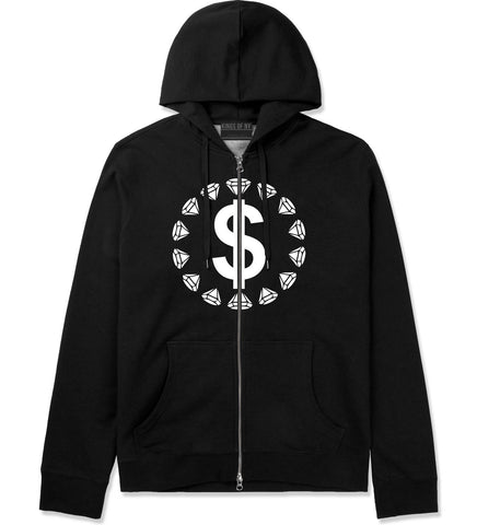 Diamonds Money Sign Logo Zip Up Hoodie Hoody in Black by Kings Of NY