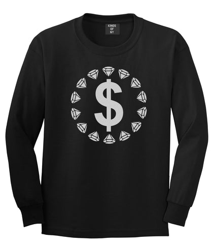 Diamonds Money Sign Logo Boys Kids Long Sleeve T-Shirt in Black by Kings Of NY