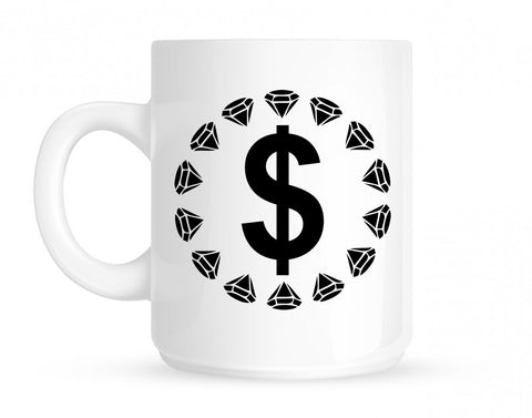 Diamonds Money Sign Logo Coffee Tea Mug in White by Kings Of NY