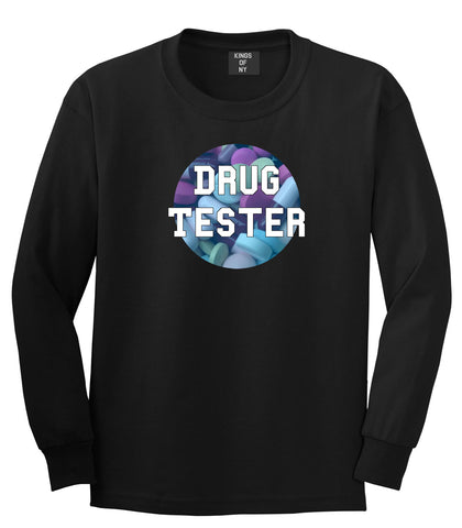 Drug tester weed smoking funny college Long Sleeve Boys Kids T-Shirt In Black by Kings Of NY