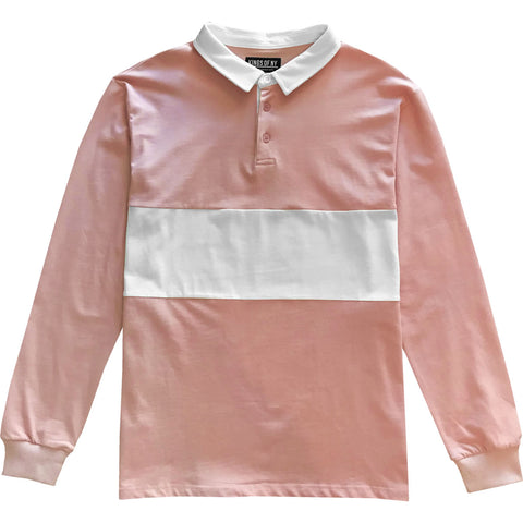 Dusty pink long sleeve polo rugby shirt
