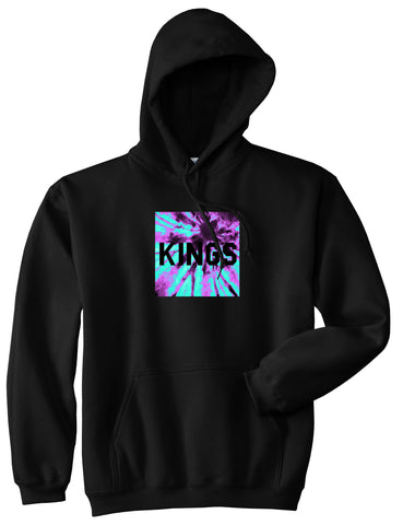 Kings Blue Tie Dye Box Logo Pullover Hoodie in Black By Kings Of NY