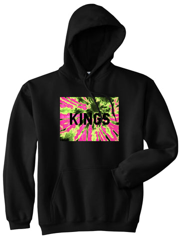 Kings Pink Tie Dye Logo Pullover Hoodie in Black By Kings Of NY