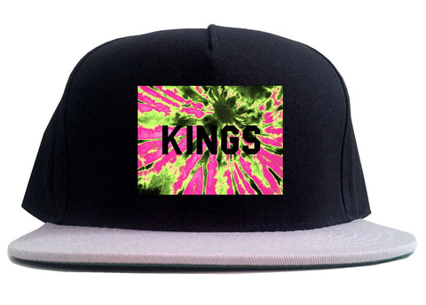 Kings Pink Tie Dye Logo 2 Tone Snapback Hat By Kings Of NY