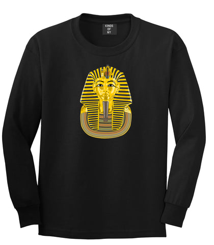 Pharaoh Egypt Gold Egyptian Head  Long Sleeve T-Shirt In Black by Kings Of NY