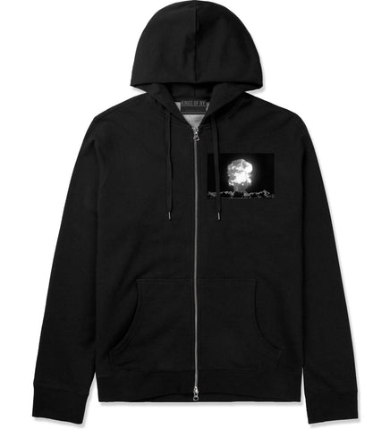 Explosion Nuclear Bomb Cloud Zip Up Hoodie in Black By Kings Of NY