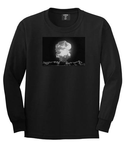 Explosion Nuclear Bomb Cloud Long Sleeve T-Shirt in Black By Kings Of NY