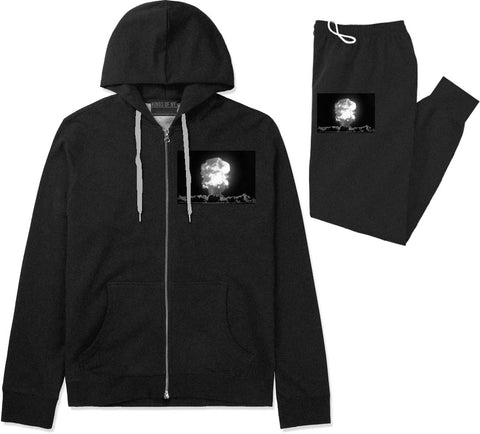 Explosion Nuclear Bomb Cloud Premium Sweatsuit in Black By Kings Of NY