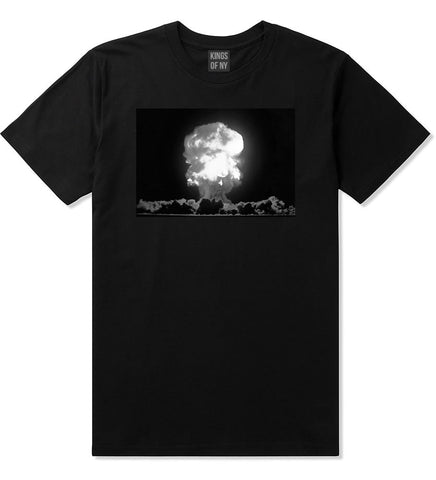 Explosion Nuclear Bomb Cloud T-Shirt in Black By Kings Of NY
