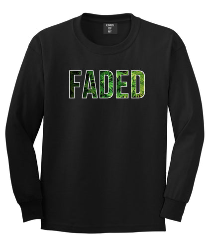 Faded Plant Life Marijuana Drugs Legalize Long Sleeve T-Shirt In Black by Kings Of NY