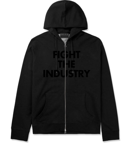 Fight The Industry Power Zip Up Hoodie in Black By Kings Of NY