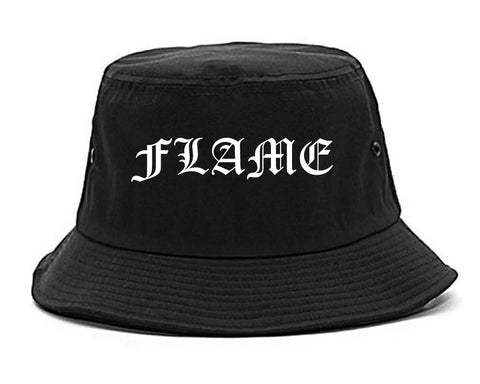 Flames of Fire Gold Frame Bucket Hat in Black By Kings Of NY