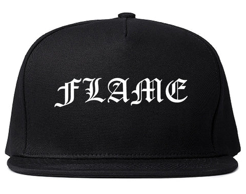 Flames of Fire Gold Frame Snapback Hat in Black By Kings Of NY