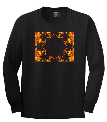 Flames of Fire Gold Frame Long Sleeve T-Shirt in Black By Kings Of NY