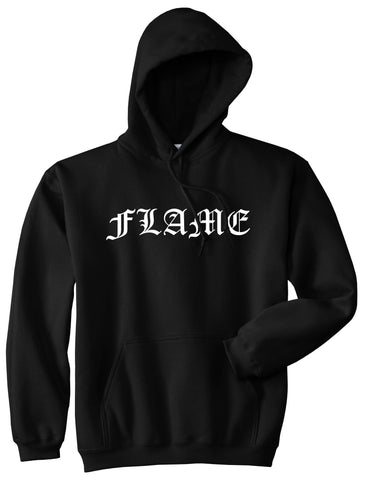 Flames of Fire Gold Frame Pullover Hoodie in Black By Kings Of NY