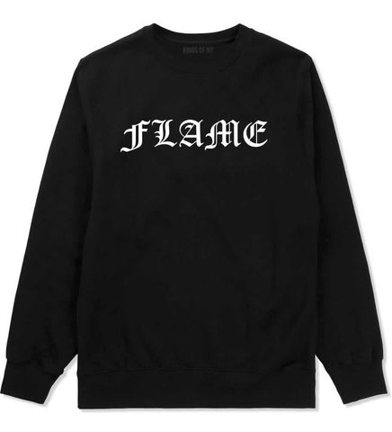 Flames of Fire Gold Frame Crewneck Sweatshirt in Black By Kings Of NY