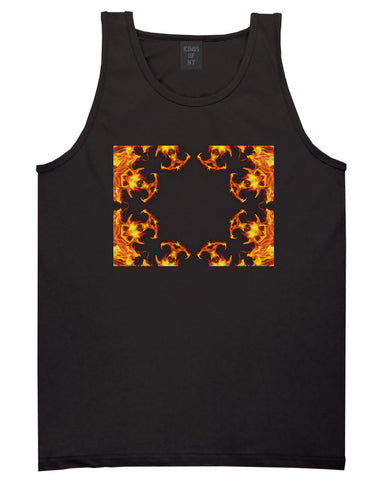Flames of Fire Gold Frame Tank Top in Black By Kings Of NY