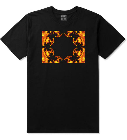 Flames of Fire Gold Frame T-Shirt in Black By Kings Of NY